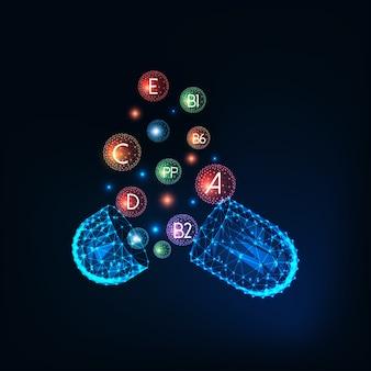 ビタミンのサプリメントと未来的な輝く低多角形カプセル薬とマルチビタミンコンセプト