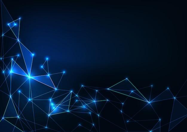 ダークブルーの未来の輝く低ポリゴン科学の背景。人工知能のコンセプト。