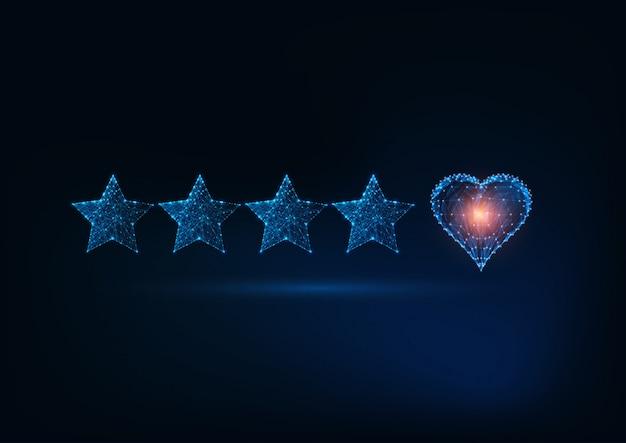 Лучшее качество обслуживания с футуристической светящейся низкой поли пять звезд и сердце