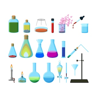 分離された明るいカラフルな化学実験用ガラス器具のセット