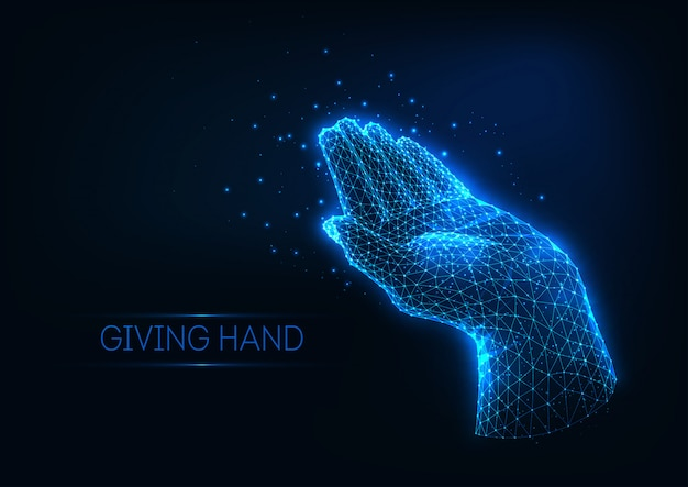 線、星、光の粒子で作られた人間の手を与える未来的な輝く低多角形。