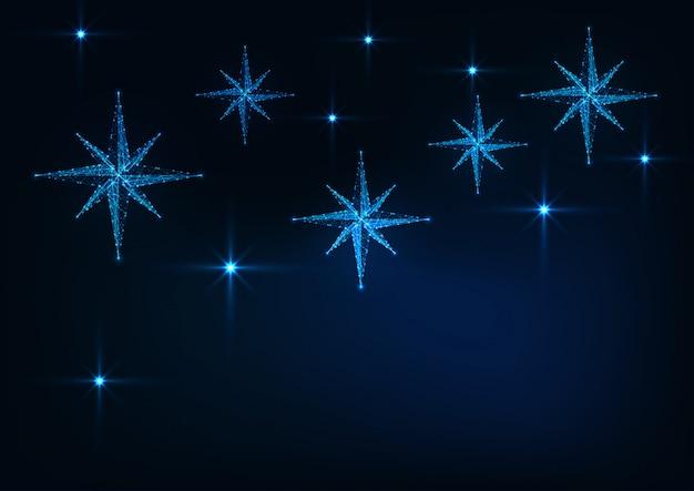 ダークブルーのクリスマスに輝くキリスト降誕の星と星空