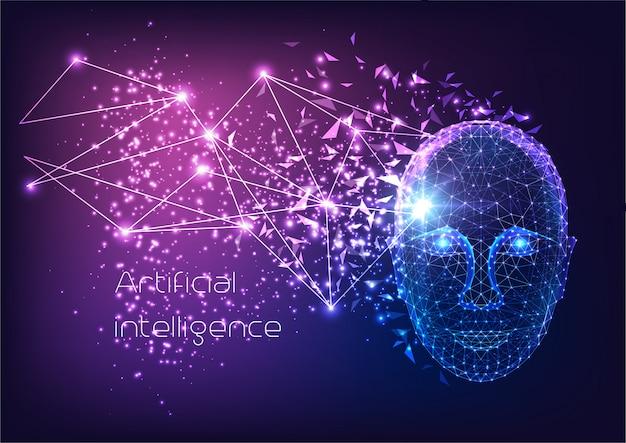 Футуристический искусственный интеллект со светящимся низким полигональным человеческим мужским лицом.