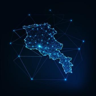 Карта армении светящегося силуэта обводится из звезд, линий, точек, треугольников, низких многоугольников.