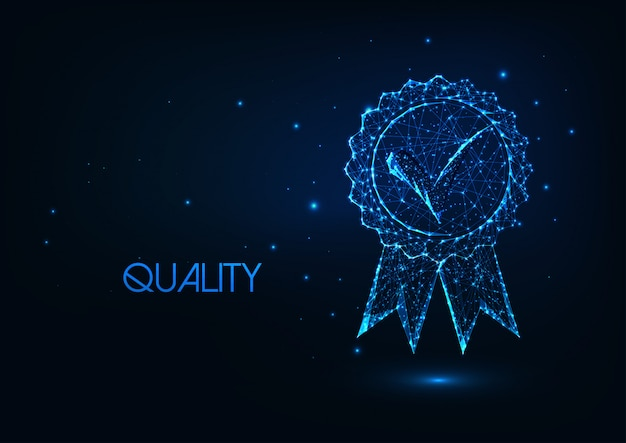 輝く低ポリゴン承認メダルアイコンで未来的なプレミアム品質のコンセプト。