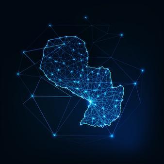 星と線の抽象的なフレームワークとパラグアイマップのアウトライン。通信、接続。