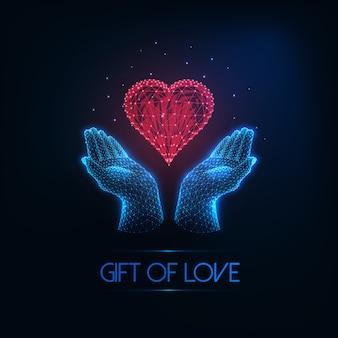 Футуристическая поздравительная открытка дня святого валентина с пылающими низкими многоугольными человеческими руками, держащими красное сердце