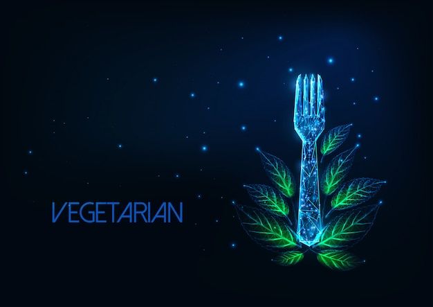 Футуристическая концепция меню вегетарианского ресторана со светящейся низкой многоугольной вилкой и зелеными листьями
