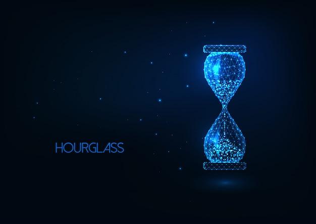 未来的な輝く低ポリゴン砂時計の分離