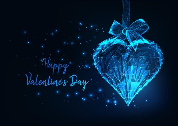 輝く多角形の心で幸せなバレンタインデー
