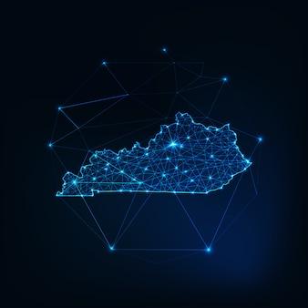 ケンタッキー州の米国地図星のライン、低多角形で作られた輝くシルエットアウトライン。
