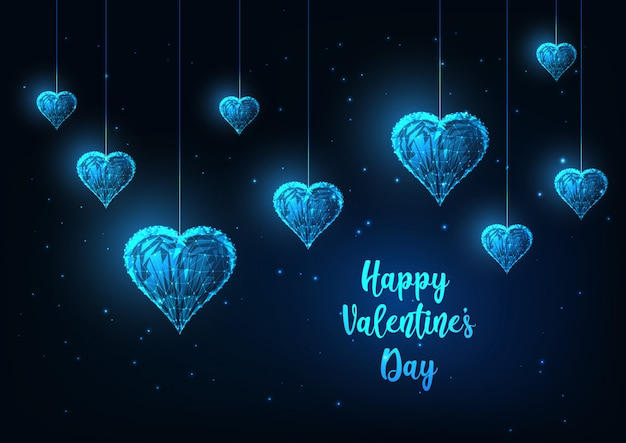 輝くぶら下がっている心を持つ未来の幸せなバレンタインの日グリーティングカード