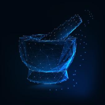 医療モルタルと乳棒は、線、ドット、三角形、暗い青色の背景に星から作られた。