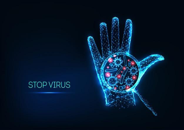 輝く低多角形の人間の手とウイルス細胞と未来的な停止コロナウイルスの概念