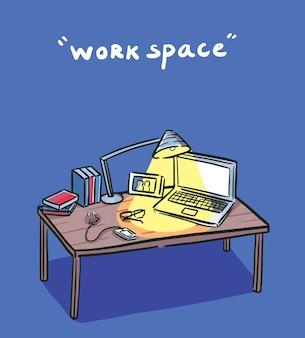 暗闇の中の作業スペース