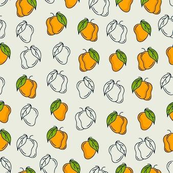 マンゴーパターン。シームレスな背景