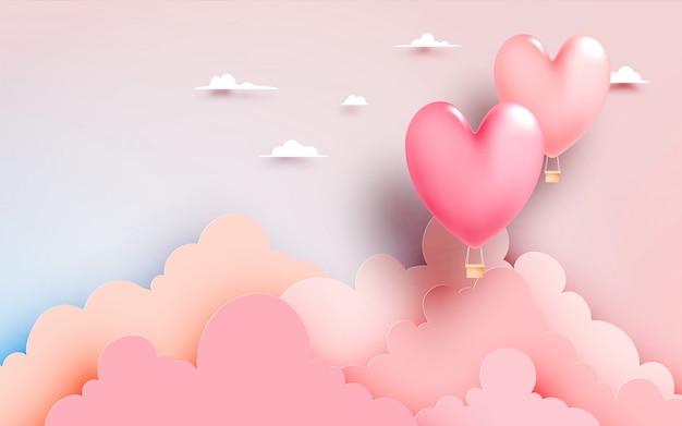 パステル調の空の背景ベクトルイラストハート熱気球紙アートスタイル
