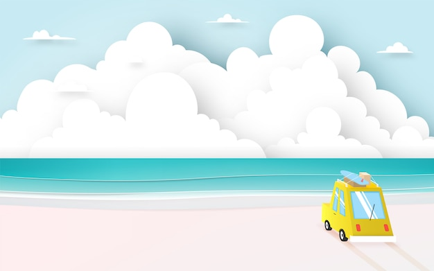 ペーパーアートスタイルとパステルカラーの配色のベクトル図とビーチでの遠征