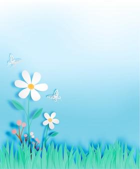 ペーパーアートスタイルのベクトル図の芝生のフィールドを持つ美しい花