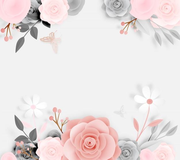 蝶のベクトルイラストと美しい花の紙の芸術