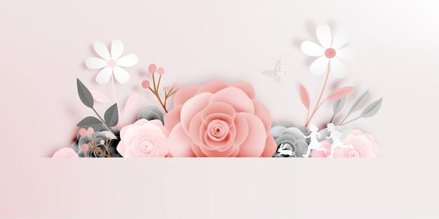 Красивая цветочная бумага с изображением бабочки