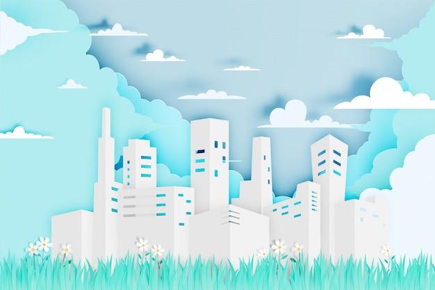フラワーフィールドベクトルイラスト紙アートスタイルの近代的な都市
