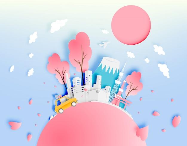 紙アートスタイルのベクトル図と春の東京日本都市