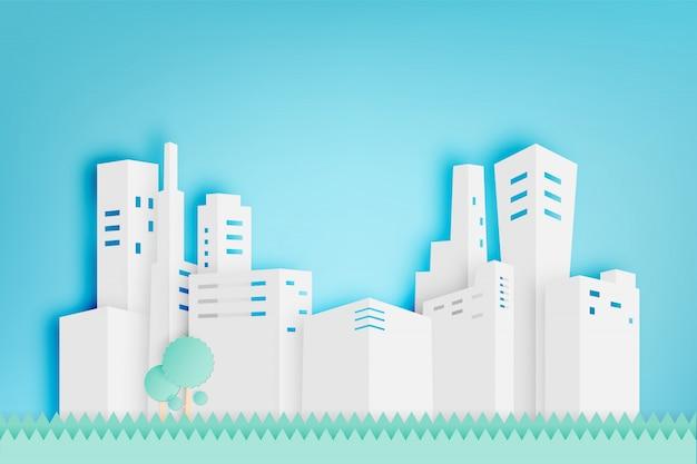美しい街並み紙アートスタイルベクトル図