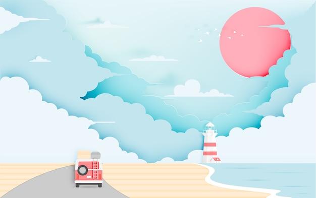 パステルスキームのベクトル図でビーチペーパーアートスタイルのロードトリップ