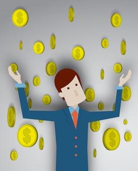 受動的所得のベクトル図とビジネスの男性の成功