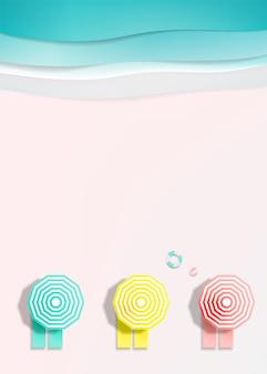 紙アートスタイルのベクトル図の夏の海の背景とビーチでデッキチェア