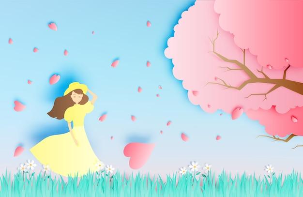 芝生フィールドペーパーアートスタイルベクトル図の桜の木で美しい少女