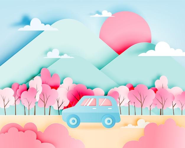 Поездка с автомобилем в весенний сезон и натуральной пастельной цветовой схемы фон бумаги вырезать стиль векторные иллюстрации