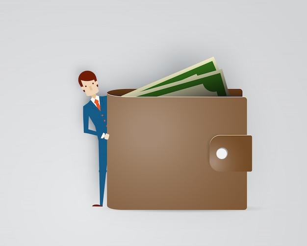 財布と現金紙アートイラストベクターを持ったビジネスマン