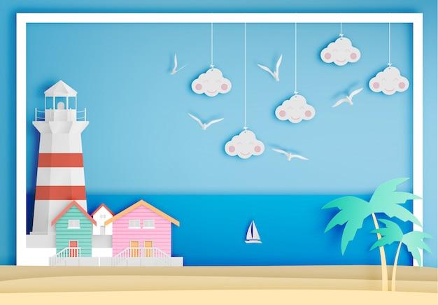 海背景フレーム紙アートスタイルの灯台