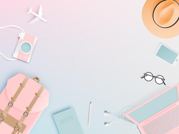 Рюкзак с различными предметами в стиле плоской бумаги