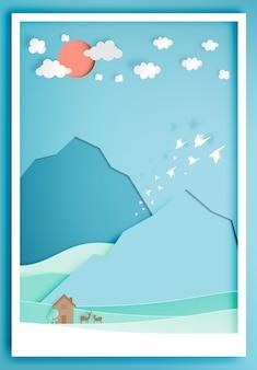 山背景紙アートスタイルの小さな木の家
