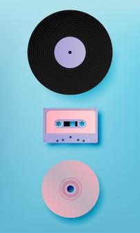 音楽レトロメディアペアアートスタイルのベクトル図