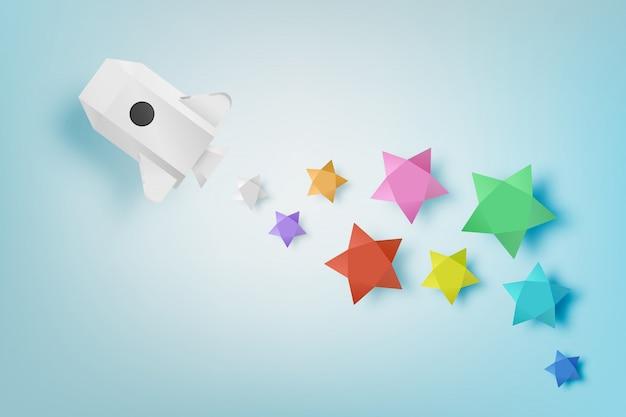 星の背景ベクトルイラストと紙のロケット