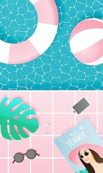 パステルカラーのビーチとプールのもの紙アートスタイル