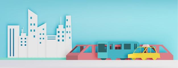 Общественный транспорт бумаги арт стиль векторные иллюстрации