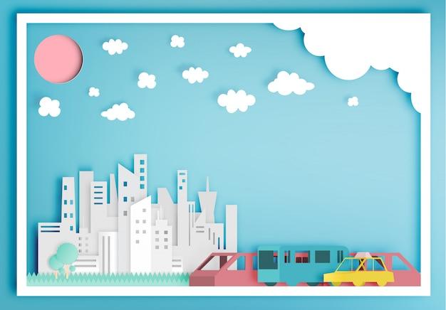 公共交通機関の紙アートスタイルのベクトル図