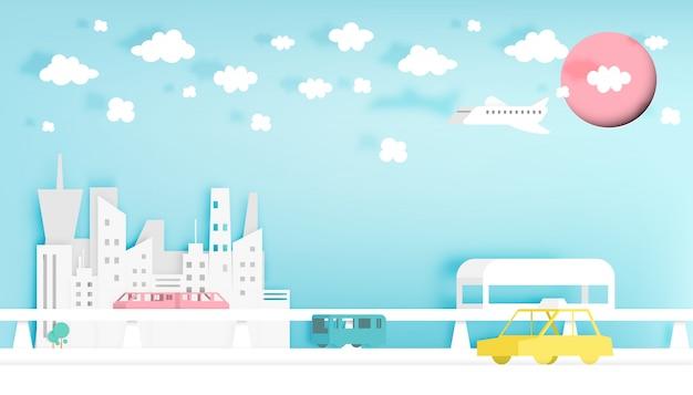 Современный город бумаги арт стиль векторные иллюстрации