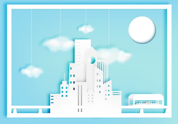 コットンクラウドベクトルイラストと美しい街並み紙アートスタイル
