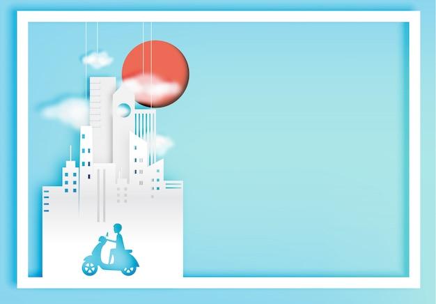 都市の背景紙ベクトルイラスト都市自転車紙アートスタイル