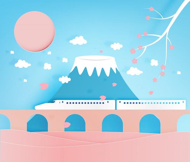 日本の素晴らしい山背景紙アートスタイルのベクトル図