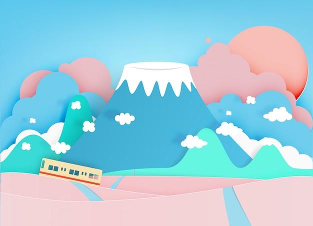 カラフルな山の紙カットスタイルの背景ベクトルイラスト