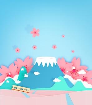 カラフルな富士山ペーパーカットスタイルの背景ベクトルイラスト