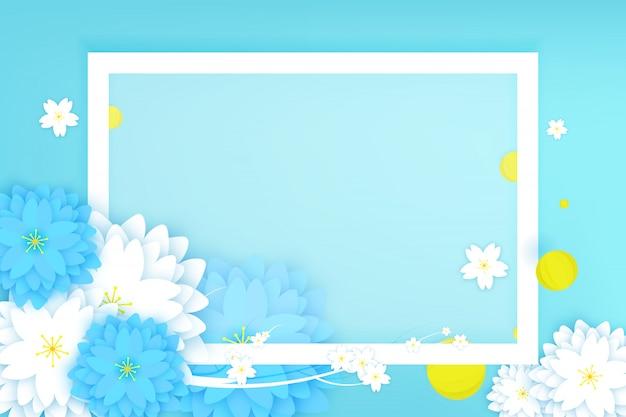 ペーパーカットの花のグリーティングカード