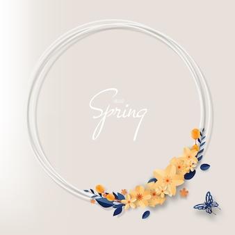 パステルカラーの配色ベクトルイラストと美しい花紙アート